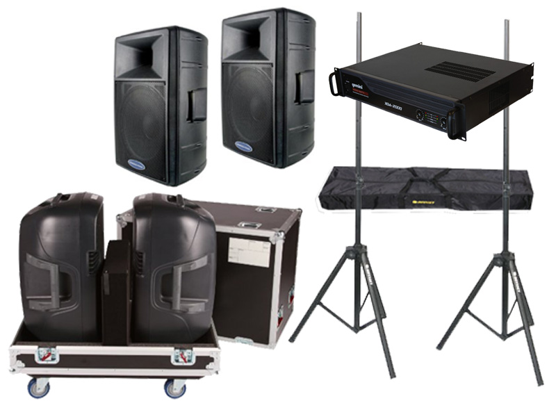 "DJ Package American Audio Pro (2) DLS-15 Passive 15"" 900 Watt Speakers, Gemini XGA-2000 Power Amplifier, Gator Cases G-TOUR 2X15-SPKR Rolling Caster Wheel Case with Stands"