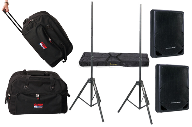 "DJ Package American Audio Pro (2) XSP-15 Passive 15"" 800 Watt Speakers and Gator Cases (2) Rolling Speaker Bags & Adjustable Stands System"