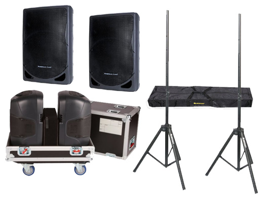 """DJ Package American Audio Pro (2) XSP-15 Passive 15"""" 800 Watt Speakers and Gator Cases G-TOUR 2X15-SPKR Rolling Caster Wheel Case with Stands"""