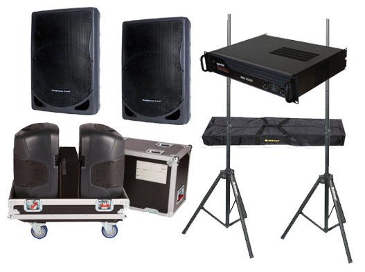 "DJ Package American Audio Pro (2) XSP-15 Passive 15"" 800 Watt Speakers, Gemini XGA-2000 Power Amplifier, Gator Cases G-TOUR 2X15-SPKR Rolling Caster Wheel Case with Stands"