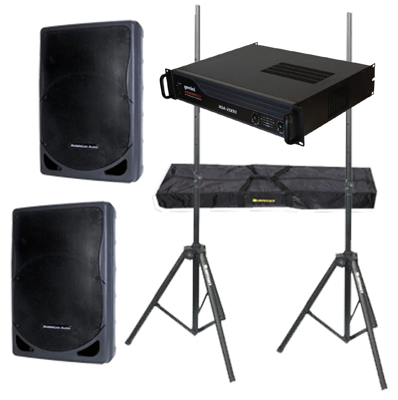 "DJ Package American Audio Pro (2) XSP-15 Passive 15"" 800 Watt Speakers, Gemini XGA-2000 Power 2000W Amplifier & Adjustable Speaker Stands"