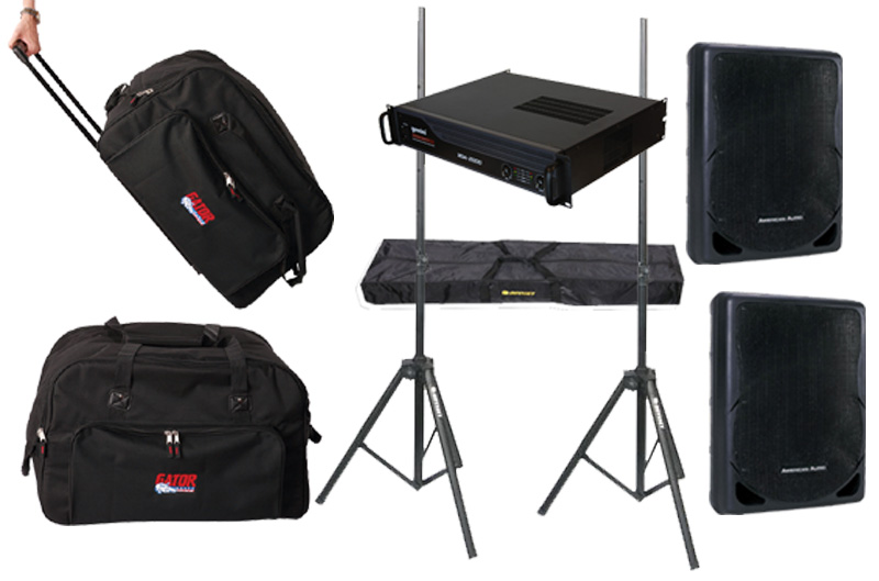 "DJ Package American Audio Pro (2) XSP-15 Passive 15"" 800 Watt Speakers, Gemini XGA-4000 Power Amp, (2) Rolling Speaker Bags & Stands System"