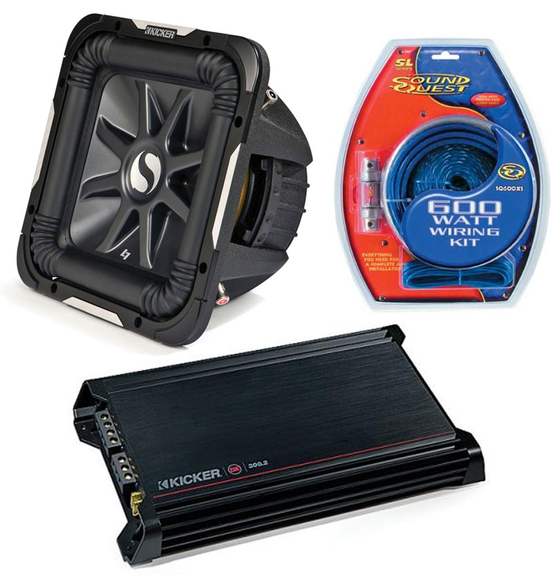 """Kicker Car Stereo 15"""" Sub Package 2011 S15L7 Dual 2 Ohm Subwoofer, DX300.2 Amp & Install Wire Kit"""