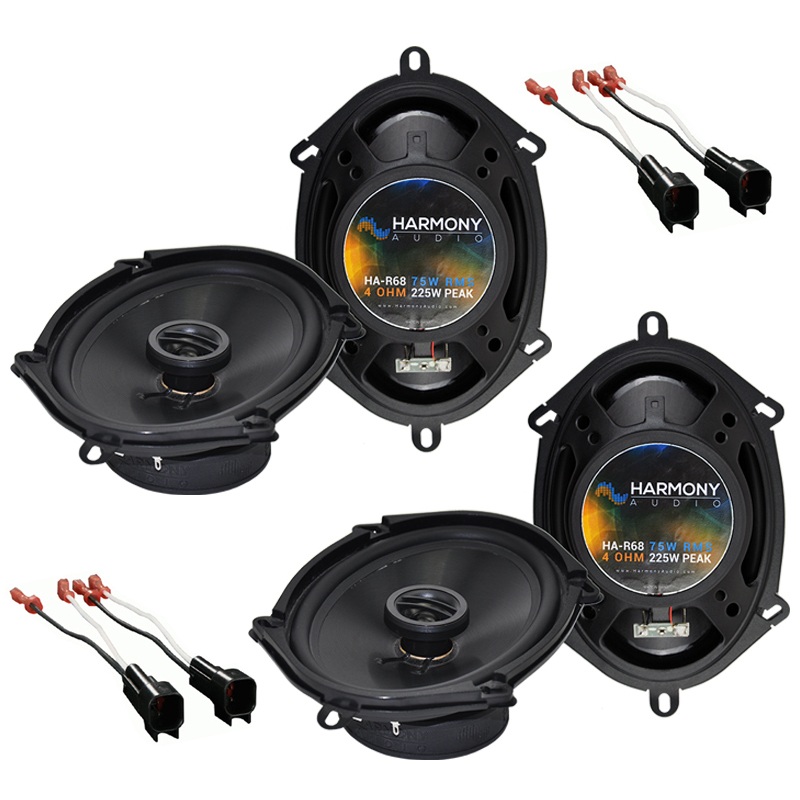 """Harmony Audio Bundle Compatible with 1999-2004 Ford F-250/350/450/550/650/750 (2) HA-R68 5x7"""" 6x8"""" New Factory Speaker Replacement Upgrade Package 225W Speakers And HA-725600 Speaker Replacement Harness"""