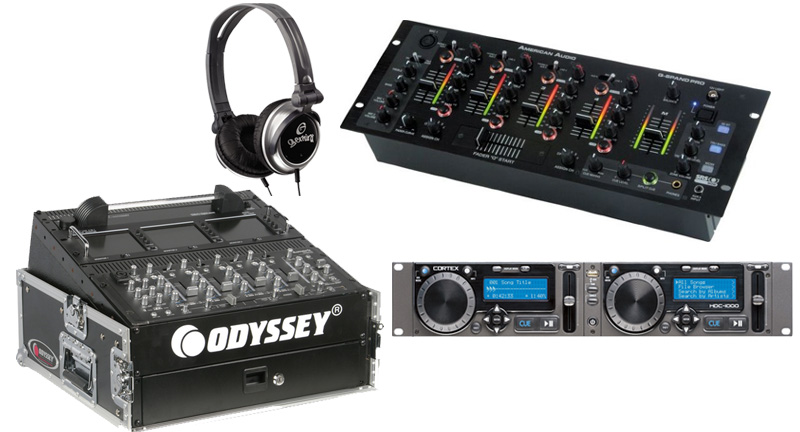 DJ Package Cortex HDC-1000 Pro Rack Mount Mass Storage Media Player & Controller with Monitor Headphones, American Audio Q-SPAND PRO 4CH Mixer & Odyssey FR1002 Flight Case