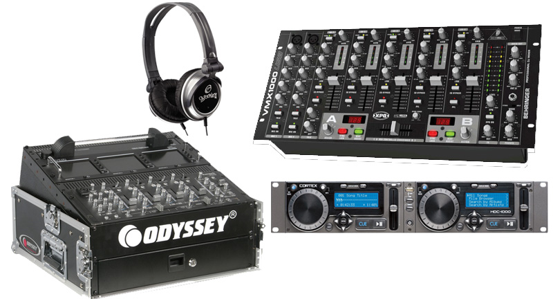 DJ Package Cortex HDC-1000 Pro Rack Mount Mass Storage Media Player & Controller with Monitor Headphones, Behringer VMX1000USB 7CH Mixer & Odyssey FR1002 Flight Case