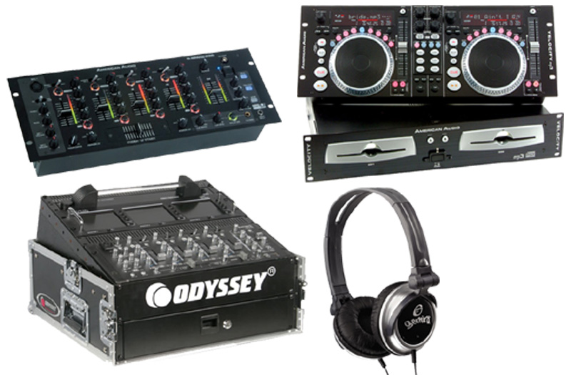 DJ Package American Audio VELOCITY MP3 Pro Scratch Dual MP3 CD Player with Monitor Headphones, American Audio Q-SPAND PRO 4CH Mixer and Odyssey FR1002 Flight Case