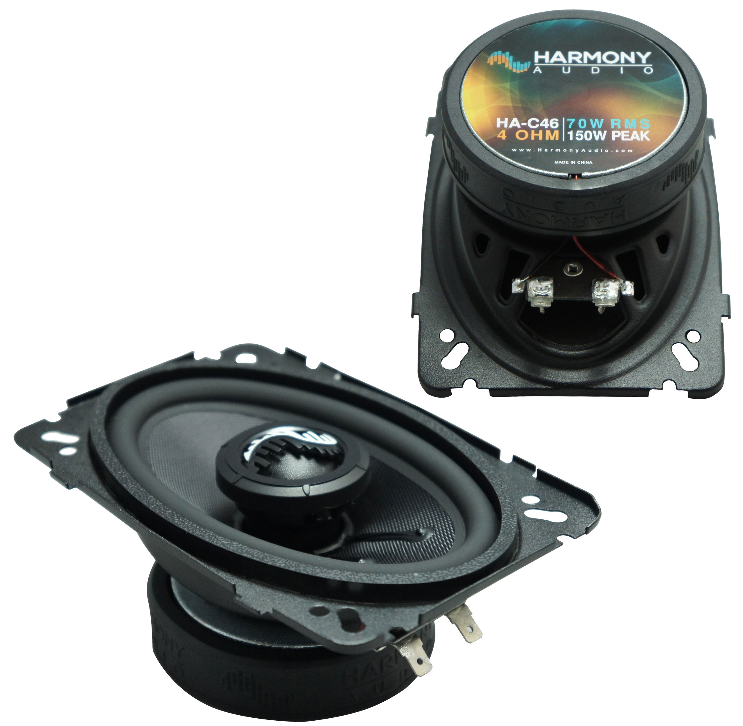 """Harmony Audio HA-C46 Car Stereo Carbon Series 4x6"""" Replacement 150W Speakers"""