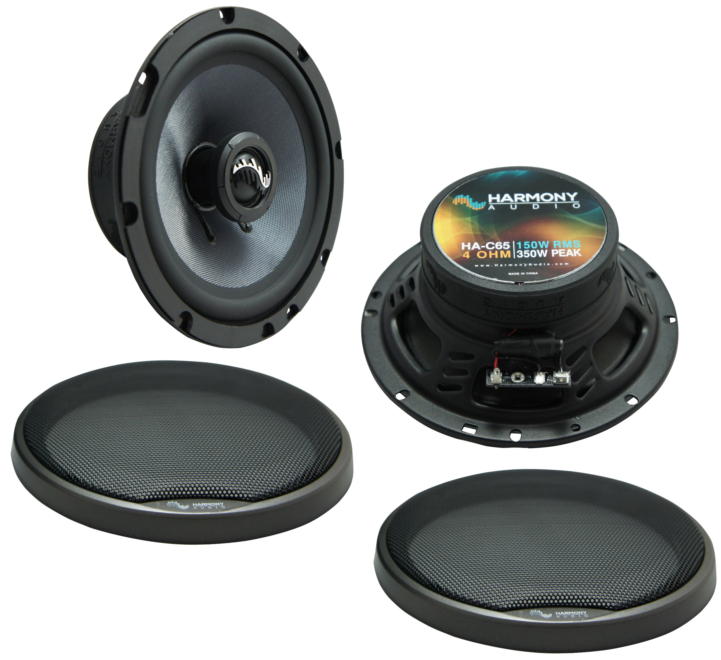 """Harmony Audio HA-C65 Car Stereo Carbon 6.5"""" Replacement 350W Speakers & Grills"""