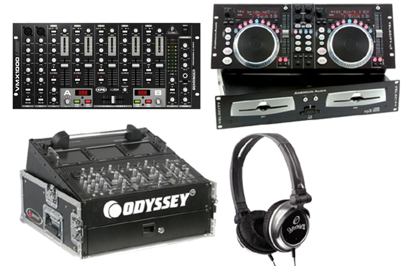 DJ Package American Audio VELOCITY MP3 Pro Scratch Dual MP3 CD Player with Monitor Headphones, Behringer VMX1000USB 7CH Mixer and Odyssey FR1002 Flight Case