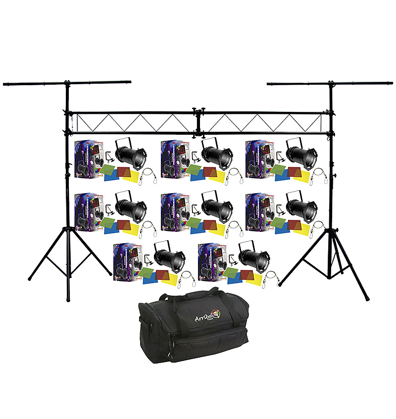 American dj lighting 8 56 black combo par can stage for Truss package cost