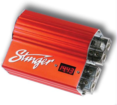 Stinger SPDH5 Hybrid 5 Farad Capacitor Red Anodized Aluminum With Monitor