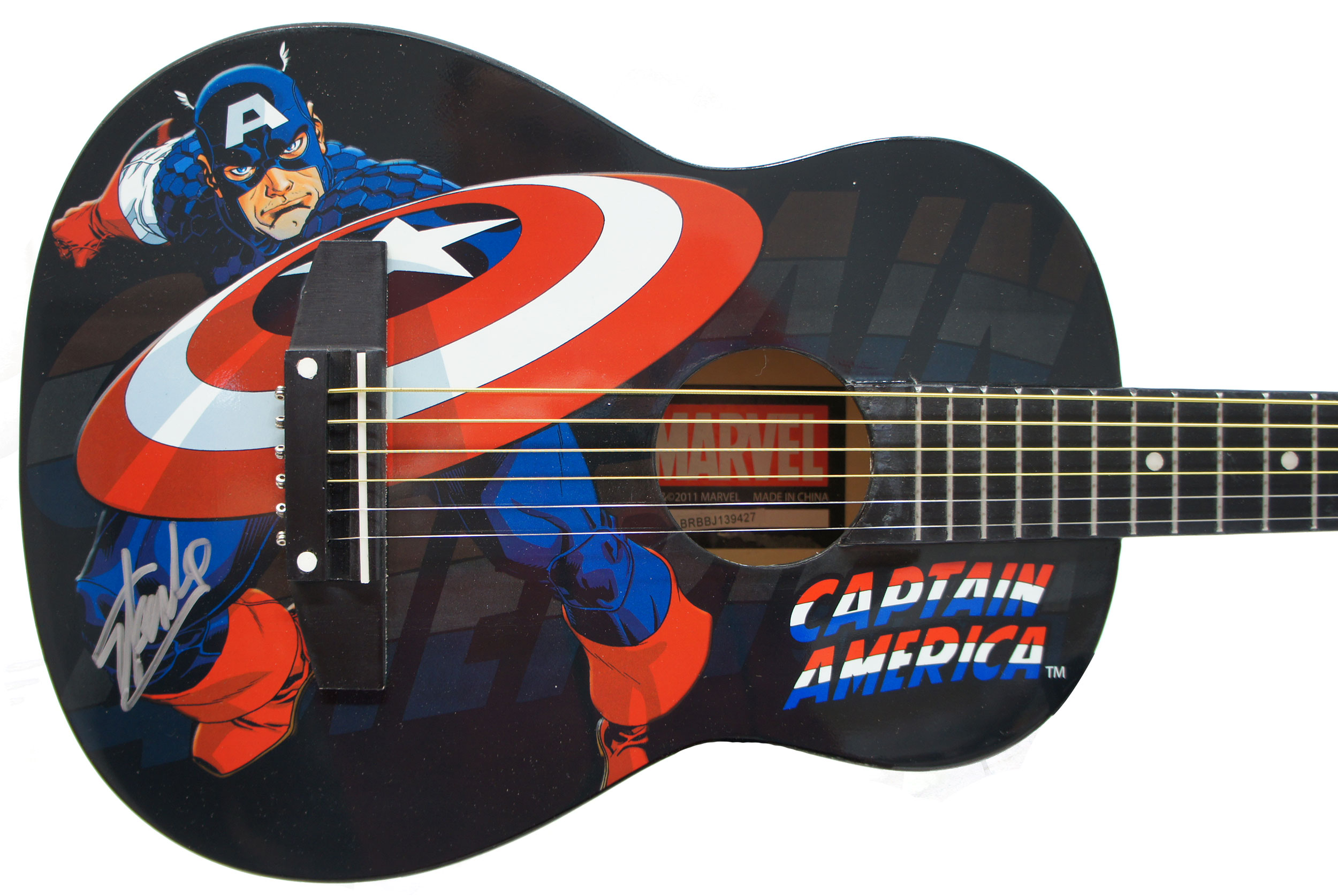 Peavey Marvel Avengers Captain America Graphic 1/2 Size Acoustic Guitar Signed by Stan Lee with Certificate of Authenticity (Serial  BRBBJ139427)
