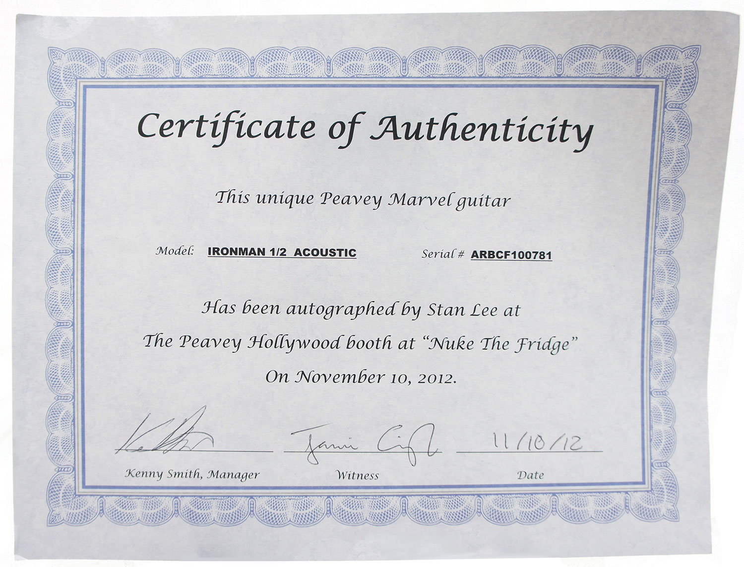 Stan lee signed peavey marvel iron man 12 acoustic guitar stan lee signed peavey marvel iron man 12 acoustic guitar certificate xflitez Image collections