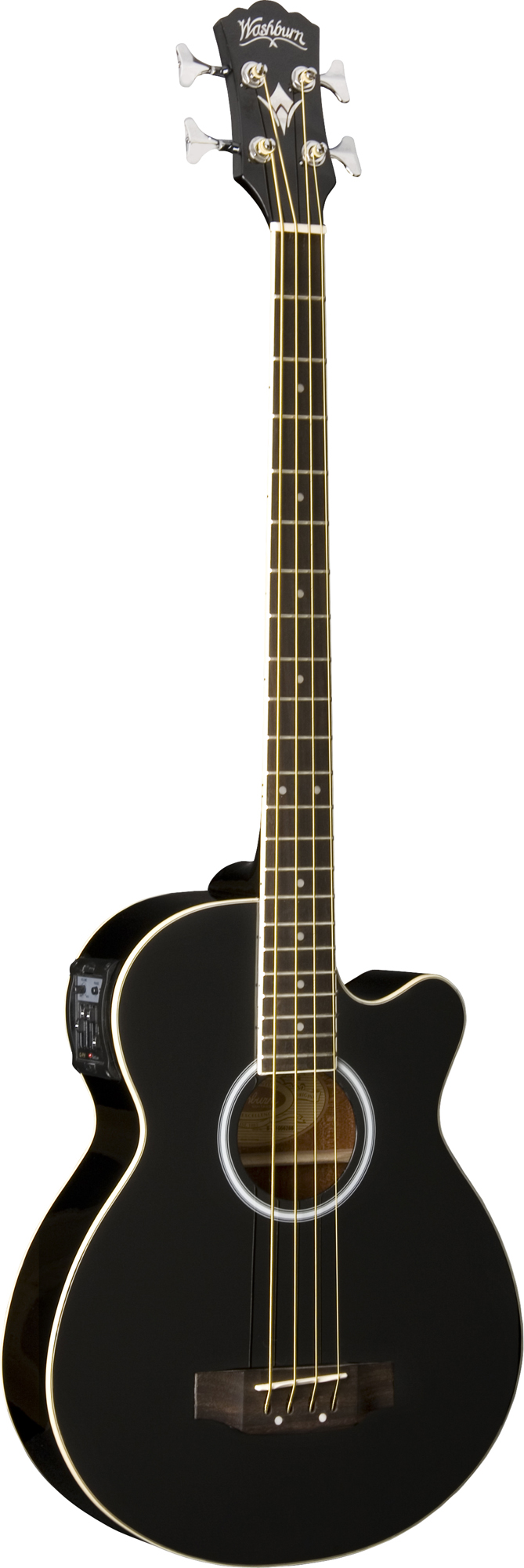 washburn ab5bk acoustic electric bass guitar with case included and black finish was12 ab5bk. Black Bedroom Furniture Sets. Home Design Ideas