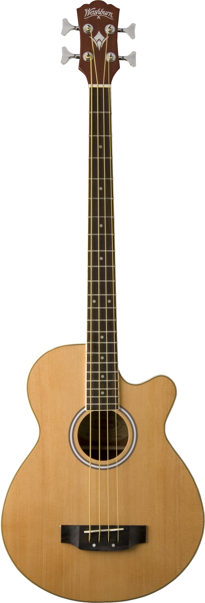 Washburn AB5BK Acoustic/Electric Bass Guitar with Case and Natural Finish