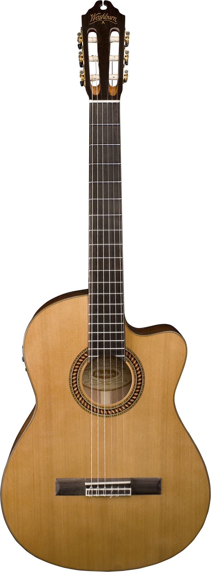 Washburn WC160SWCE Classical Cutaway Style Guitar with Tuner and Rosewood Bridge