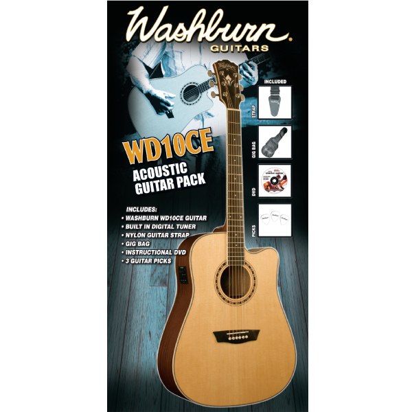 Washburn WD10CEPACK Dreadnought Acoustic Electric Pack Guitar w/ Mahogany Sides / Back Natural Finish
