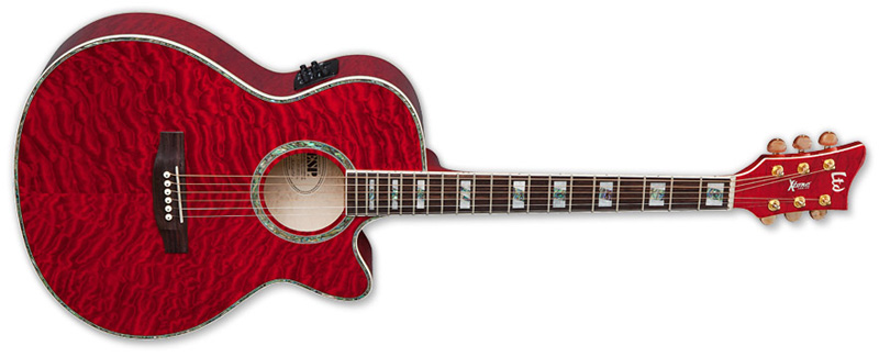 ESP LTD AC30EQM Xtone Quilted Maple Top Acoustic Guitar See Thru Red Finish (XAC30EQMSTR)