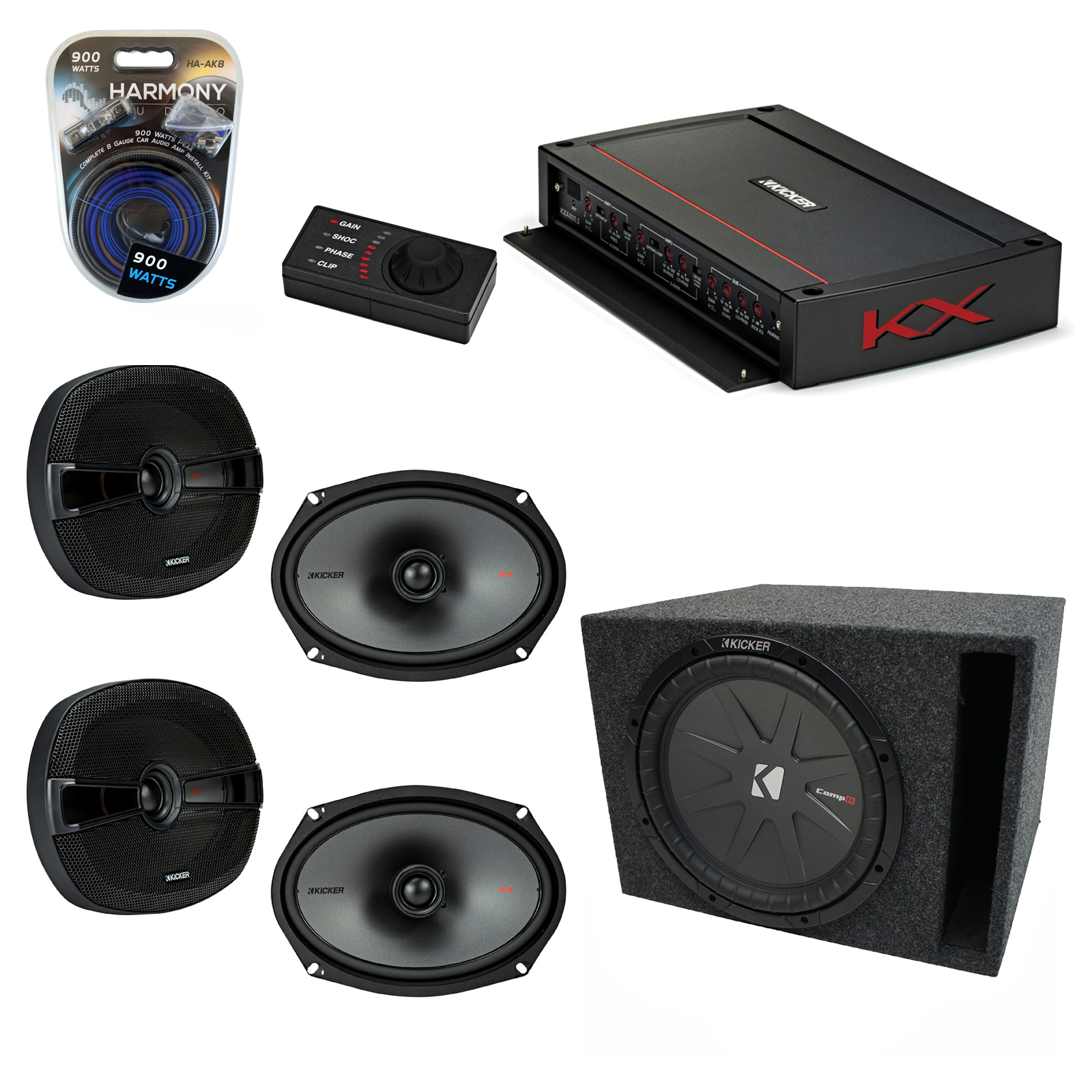 "Kicker Car Audio 5 Channel Amplifer Bundle with 10"" 400W RMS 4-Ohm DVC Car Subwoofer, KS Series 6x9"" Full Range Speakers (2), & Accessories (6 Items)"