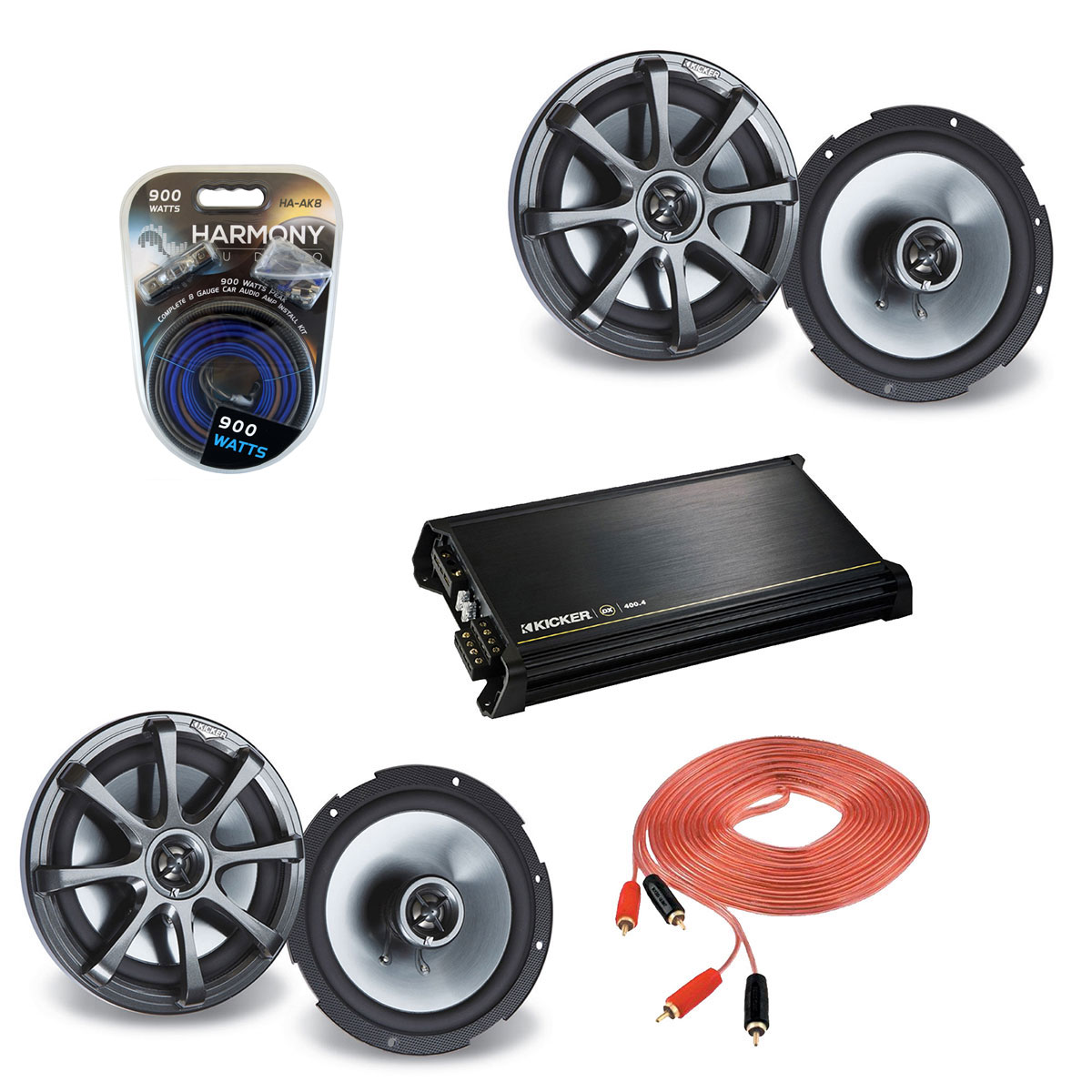 "Kicker Car Audio (2) KS650 Full Range 6.5"" Speaker Pairs with DX400.4 Amplifier & 8GA Amp Kit"