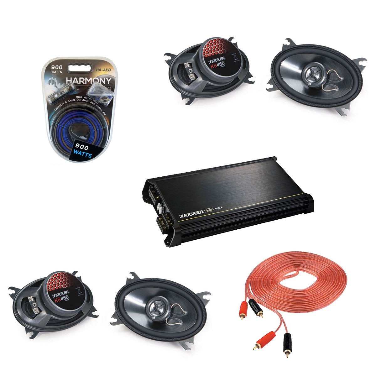 "Kicker Car Audio (2) KS460 Full Range 4X6"" Speaker Pairs with DX400.4 Amplifier & 8GA Amp Kit"