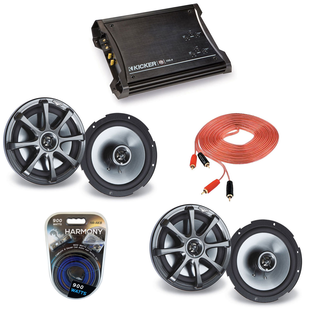 "Kicker Car Audio (2) KS650 Full Range 6.5"" Speaker Pairs with ZX350.4 Amplifier & 8GA Amp Kit"