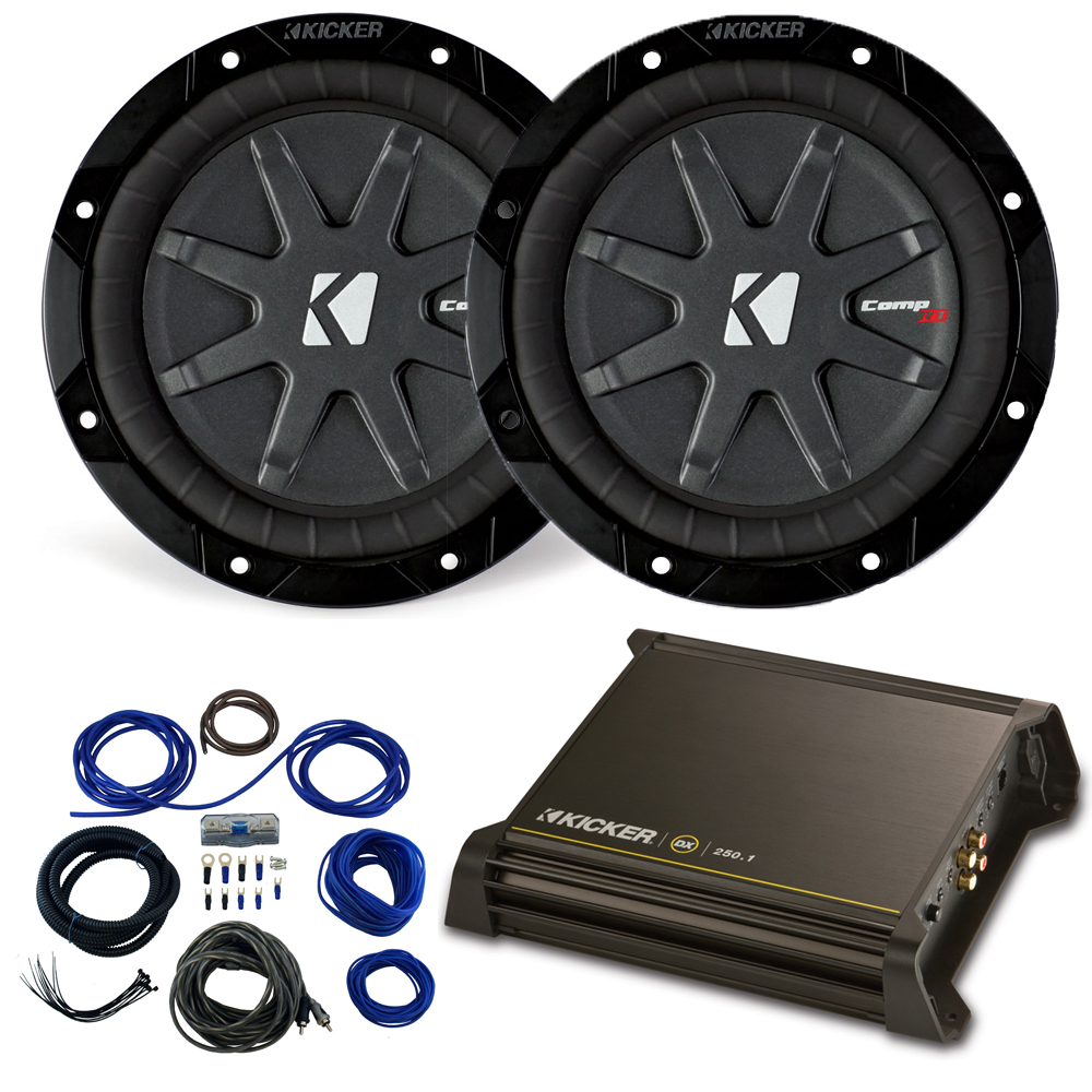 "Dual 6.75"" Kicker CompRT Sub Package with Kicker 11DX250.1 Amp"