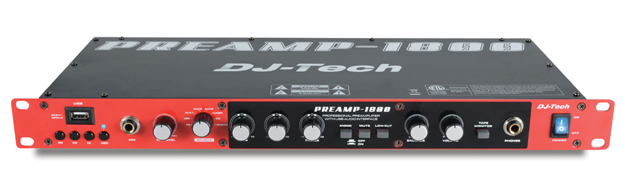 DJ Tech Preamp 1800 8 Channel Professional Preamplifier w/ USB Audio Interface / USB direct encoder