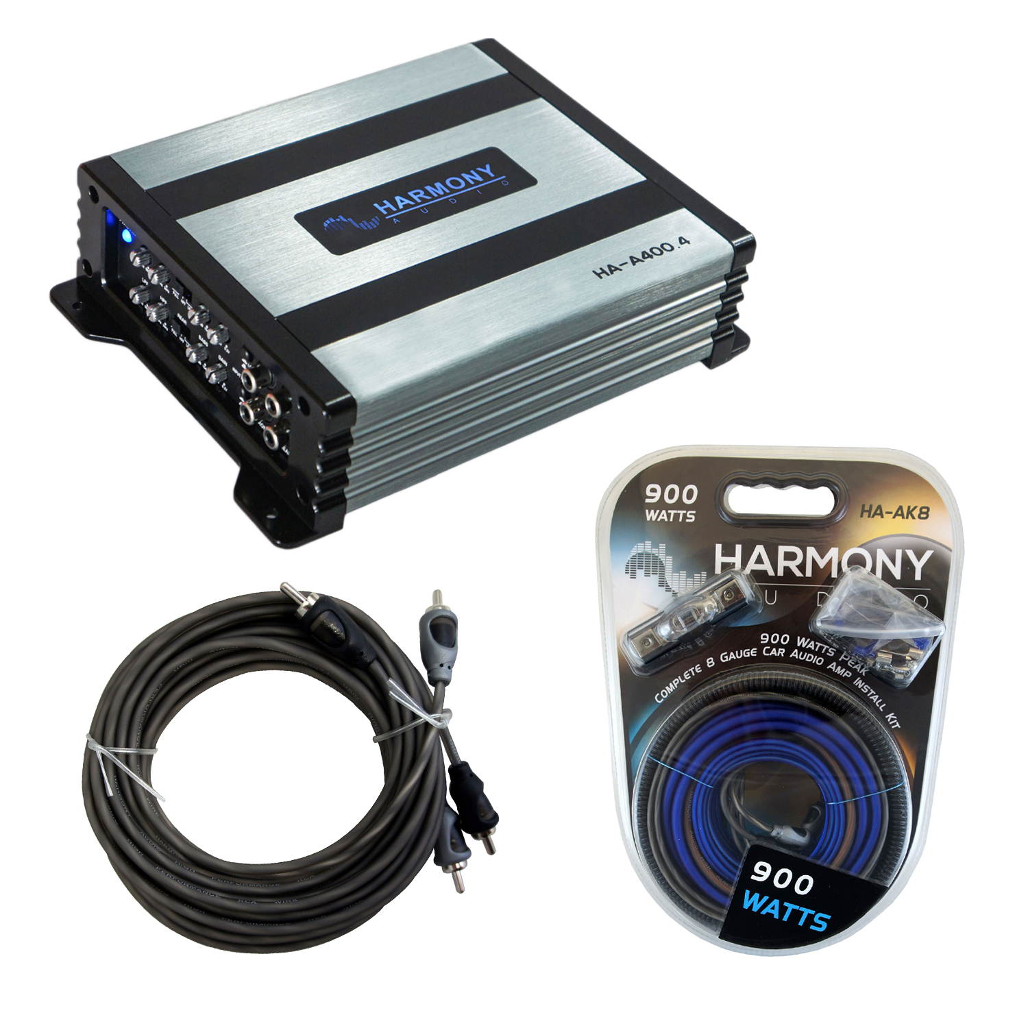 Harmony Audio HA-A400.4 Car Stereo Alloy Amp 4 Channel Fulll Range Speaker or Sub Amplifier Bundle with Harmony Audio HA-AK8 Amp Kit and RCAs