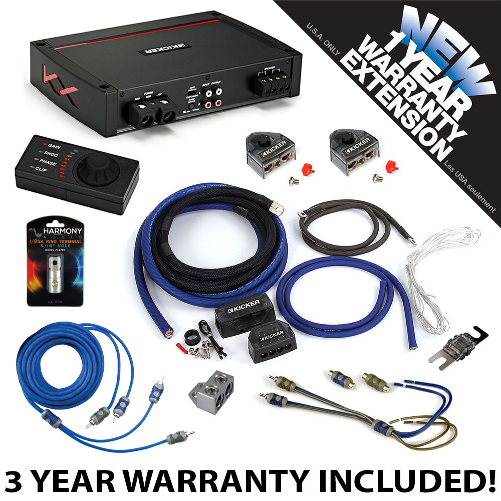 Kicker 44kxa16001 Car Audio Sub Amp Kxa16001 1 0 Ga Amplifier Gauge 2channel Complete Kit Vehicle Wire Accessory 3 Year Warranty