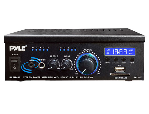 Pyle Home PCAU46A 120 Watts 2-Channel Stereo Power Amplifier w/ USB Reader Func