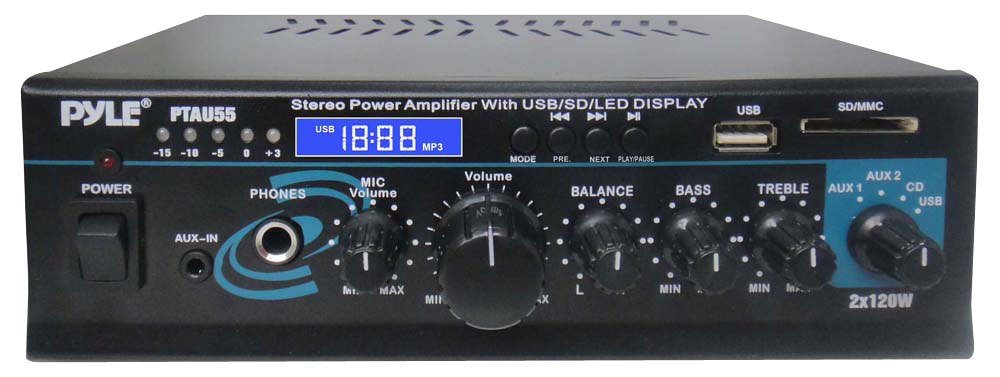 Pyle Home PTAU55 2-Channel 120 Watt Stereo Power Amplifier with Blue LED Display