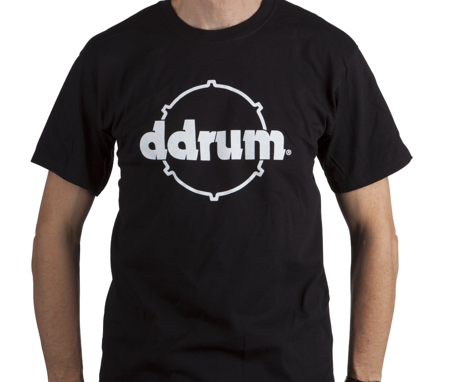dDrum Black Colored Hoop Tee T-Shirt with White Logo - Extra Large Size (TSHIRT DDRUM HOOP XL)