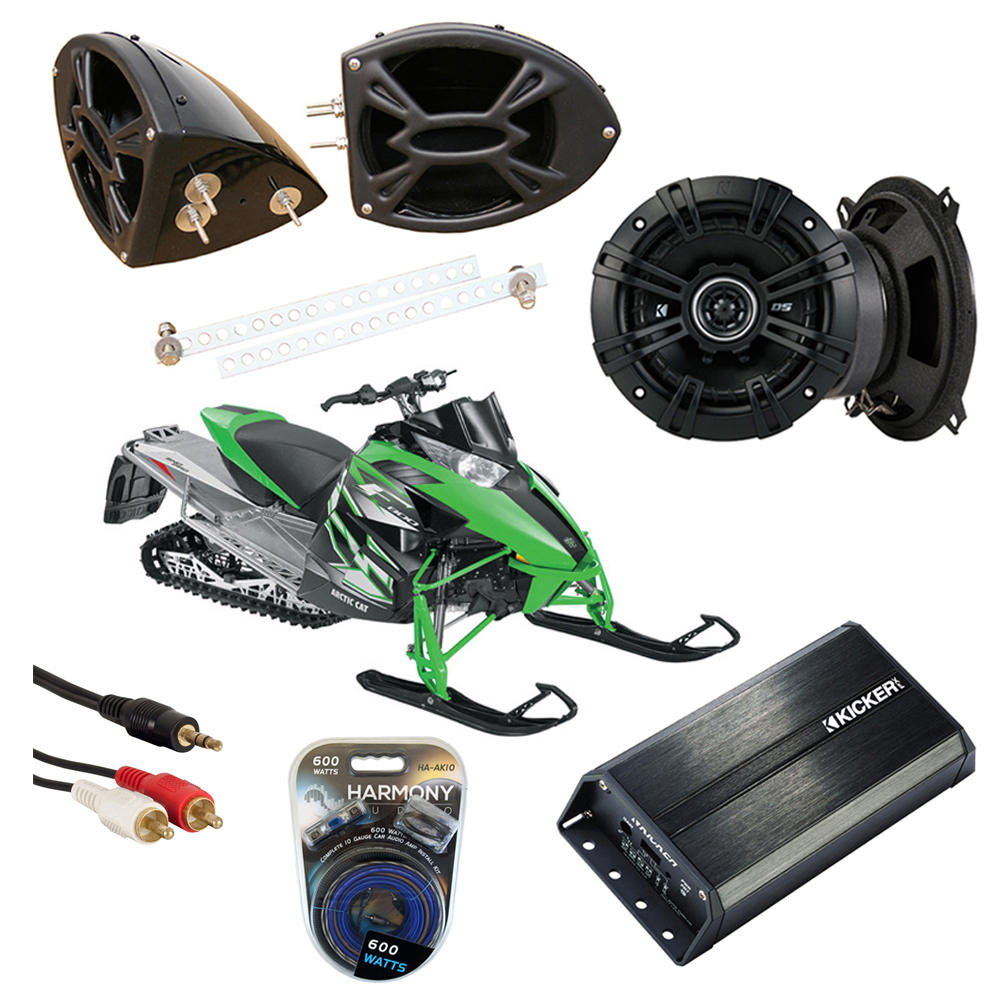 "Artic Cat Snowmobile Kicker DSC50 & PXA300.4 Custom 5 1/4"" Speaker Pod System"