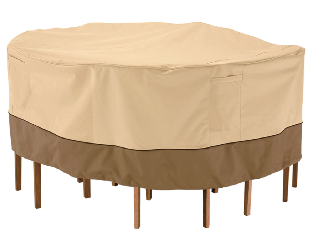 """Armor Shield Round Table & 6 Chair Set Cover 70"""" Diameter Made of Polyester Fabric"""
