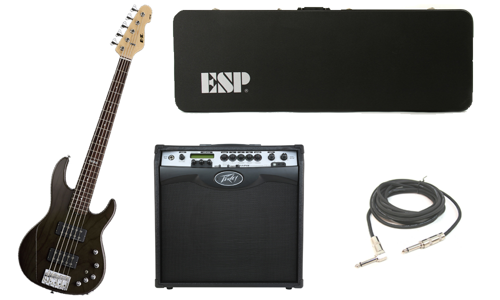 "ESP E-II AP-5 White Ash Body 5 String Rosewood Fingerboard See Through Black Electric Bass Guitar with Peavey VIP 3 Modeling Amp & 1/4"" Cable"