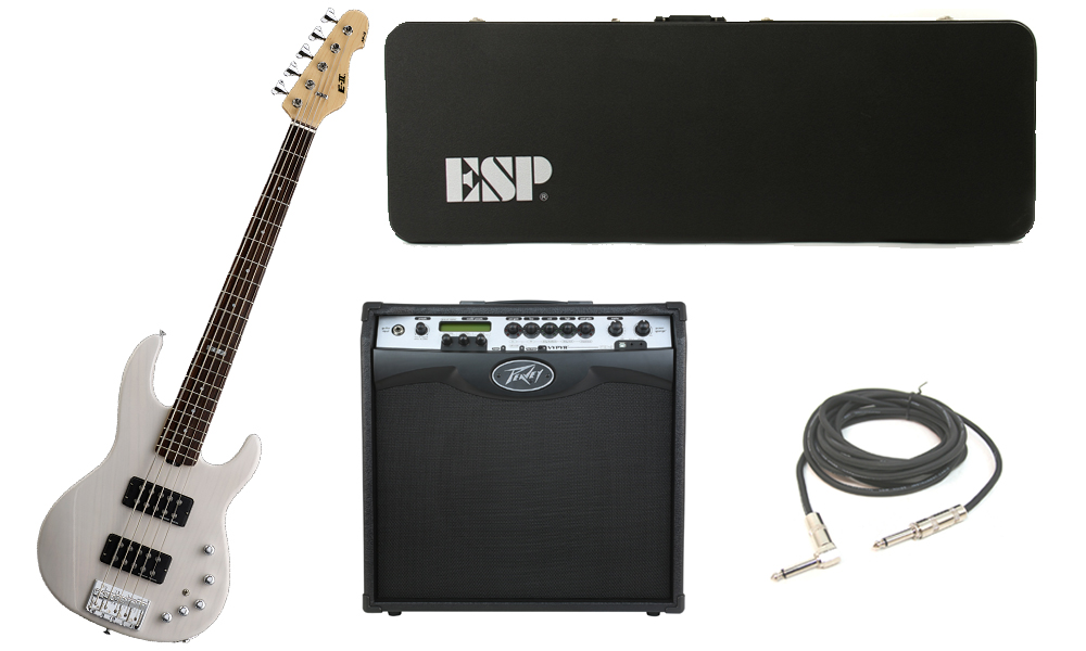 """ESP E-II AP-5 White Ash Body 5 String Rosewood Fingerboard See Through White Electric Bass Guitar with Peavey VIP 3 Modeling Amp & 1/4"""" Cable"""