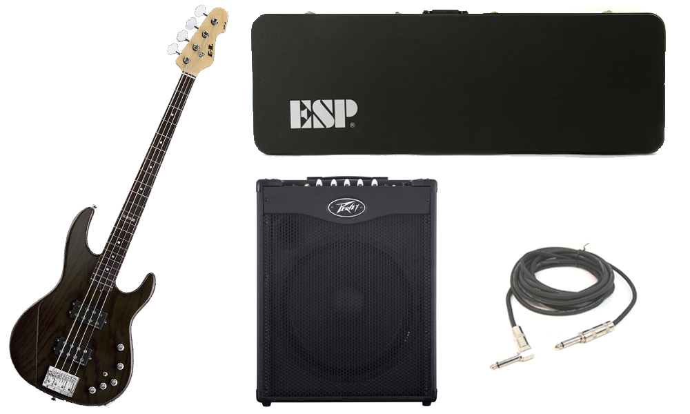 """ESP E-II AP-4 White Ash Body 4 String Rosewood Fingerboard See Through Black Electric Bass Guitar with Peavey MAX 115 Combo Amp & 1/4"""" Cable"""