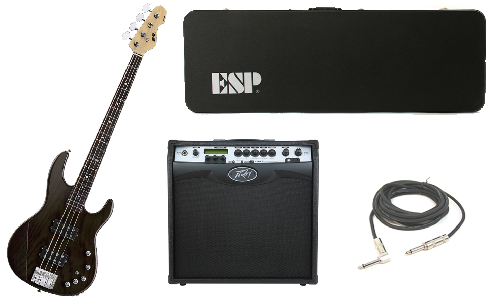 """ESP E-II AP-4 White Ash Body 4 String Rosewood Fingerboard See Through Black Electric Bass Guitar with Peavey VIP 3 Modeling Amp & 1/4"""" Cable"""