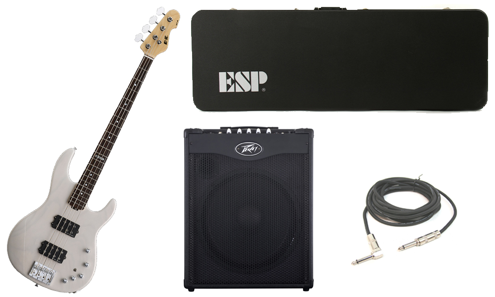 """ESP E-II AP-4 White Ash Body 4 String Rosewood Fingerboard See Through White Electric Bass Guitar with Peavey MAX 115 Combo Amp & 1/4"""" Cable"""
