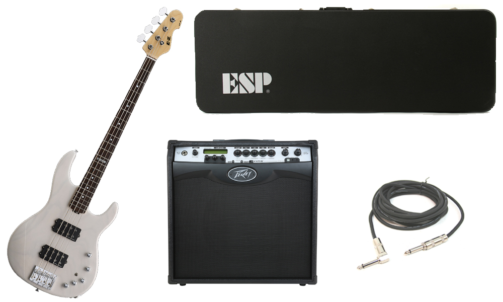 "ESP E-II AP-4 White Ash Body 4 String Rosewood Fingerboard See Through White Electric Bass Guitar with Peavey VIP 3 Modeling Amp & 1/4"" Cable"