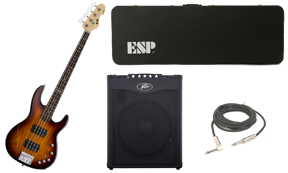 "ESP E-II AP-4 White Ash Body 4 String Rosewood Fingerboard Tobacco Sunburst Electric Bass Guitar with Peavey MAX 115 Combo Amp & 1/4"" Cable"
