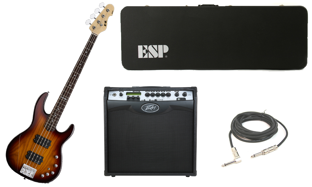 """ESP E-II AP-4 White Ash Body 4 String Rosewood Fingerboard Tobacco Sunburst Electric Bass Guitar with Peavey VIP 3 Modeling Amp & 1/4"""" Cable"""