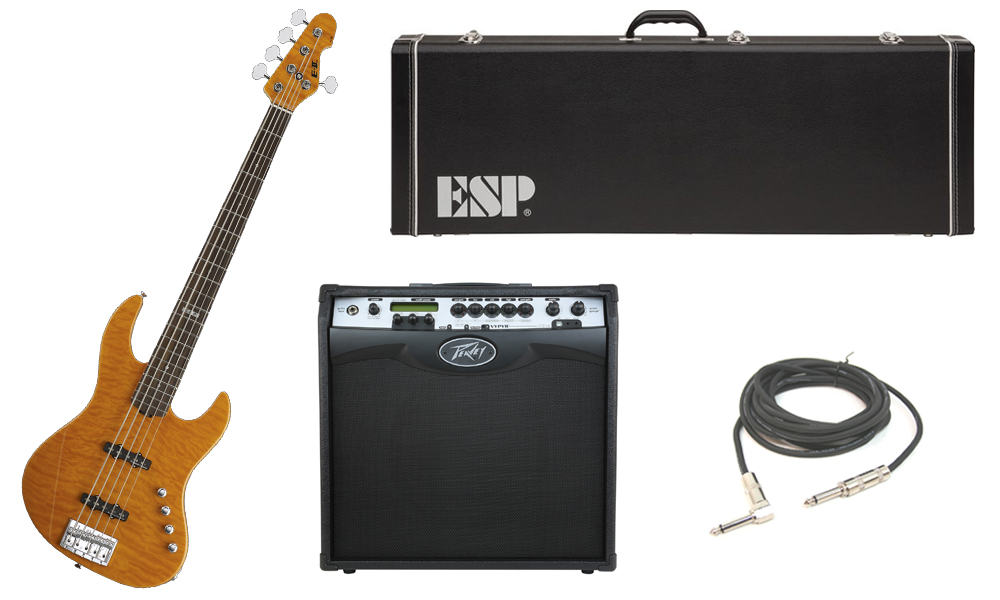 """ESP E-II J-5 Quilted Maple 5 String Rosewood Fingerboard Amber Electric Bass Guitar with Peavey VIP 3 Modeling Amp & 1/4"""" Cable"""
