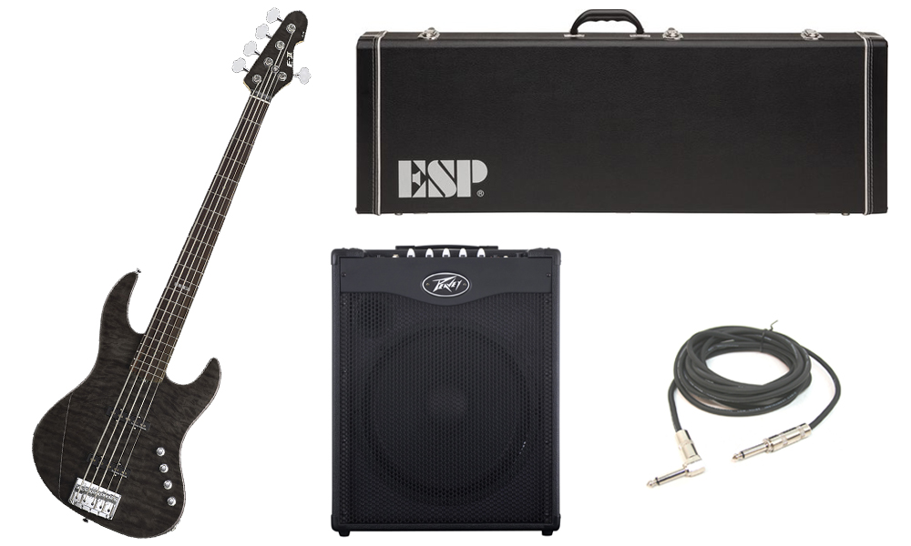 """ESP E-II J-5 Quilted Maple 5 String Rosewood Fingerboard See Through Black Electric Bass Guitar with Peavey MAX 115 Combo Amp & 1/4"""" Cable"""