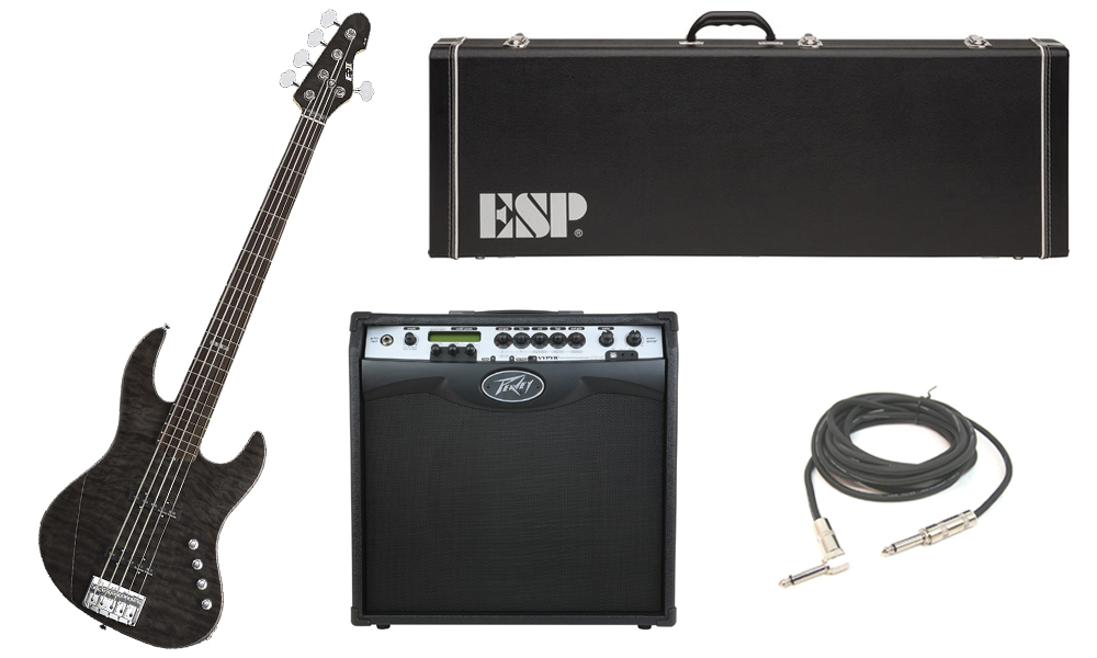 "ESP E-II J-5 Quilted Maple 5 String Rosewood Fingerboard See Through Black Electric Bass Guitar with Peavey VIP 3 Modeling Amp & 1/4"" Cable"