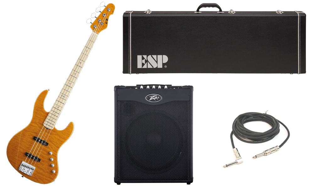 """ESP E-II J-4 Quilted Maple 4 String Rosewood Fingerboard Amber Electric Bass Guitar with Peavey MAX 115 Combo Amp & 1/4"""" Cable"""