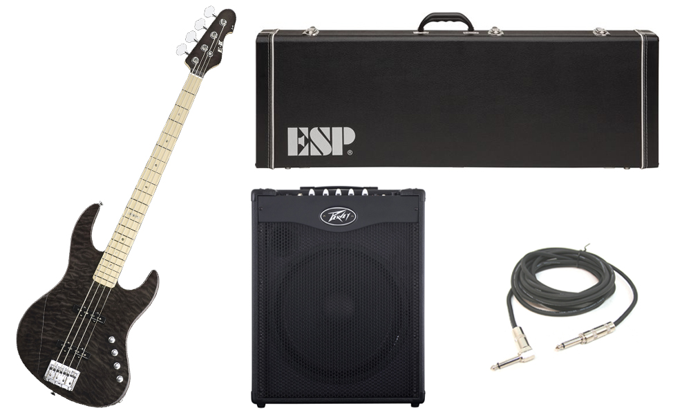 """ESP E-II J-4 Quilted Maple 4 String Rosewood Fingerboard See Through Black Electric Bass Guitar with Peavey MAX 115 Combo Amp & 1/4"""" Cable"""