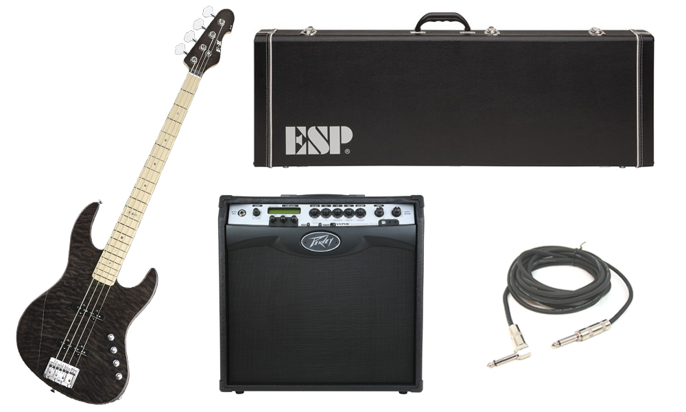"ESP E-II J-4 Quilted Maple 4 String Rosewood Fingerboard See Through Black Electric Bass Guitar with Peavey VIP 3 Modeling Amp & 1/4"" Cable"